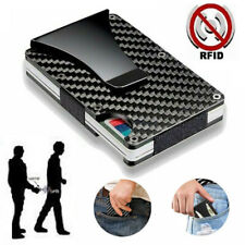 RFID Blocking Carbon Fiber Minimalist Ridge Money Clip Front Pocket Mens Wallet
