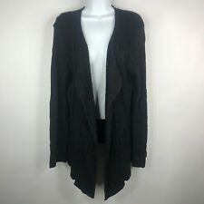 Eileen Fisher Black Textured Italian Yarn Hi Lo Open Front Cardigan Sweater Sz M
