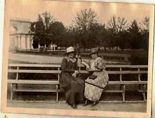 Antique Vintage Photograph Two Women Wearing Cool Outfits Sitting on Bench