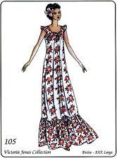 Victoria Jones Loose-fit Muumuu w/Gathered Skirt Ruffle P-3XL Sewing Pattern 105
