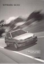 Citroen Saxo Specification 2000-01 UK Market Foldout Brochure