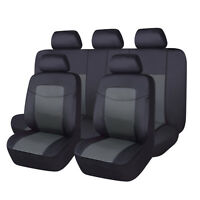 11Pcs Car Seat Covers PU Leather Universal Bench Split 40/60 50/50 60/40 Black