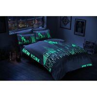 Bettwäsche Set mit Leuchteffekt Baumwollsatin 6 tlg 200x220 New York City