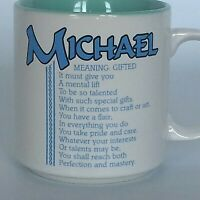 Michael Meaning Gifted Coffee Tea Mug Cup Papel Marci G. Poetry Korea Blue Green