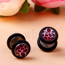 Red Leopard Print Fake 0 Gauge Barbell Ear Studs Cheater Expander Earring GL