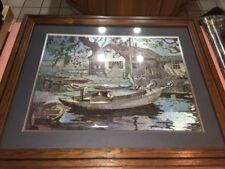 Boat And Log Cabin Silk Painting Frame