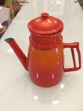 Vintage Descoware Flame Orange Red Drip Coffee Pot .