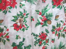 Great lightweight Christmas fabric material poinsettia & pinecones on white chic