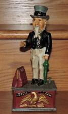 """VINTAGE REPRODUCTION """"UNCLE SAM"""" HEAVY CAST IRON MECHANICAL COIN BANK 11""""h WORKS"""