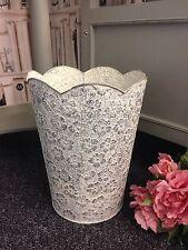 Shabby Chic Francese Paese Stile Vintage Design Floreale in metallo grigio Bin wastebin