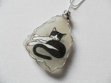 "Tuxedo cat sea glass necklace, hand painted to order - 18"" silver plated chain"