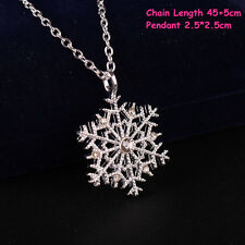 Women Vintage Rhinestone Snowflake Pendant Christmas Necklace Sweater Chain Gift