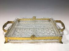 Vintage Rectangular Heavy Cut Glass Divided Tray With Metal Rim