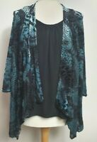 ROMAN (UK Size 14) Blue Crusted Velvet Animal Print Layered Top Cardigan