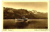 CPA 74 Haute-Savoie Annecy Le Lac et la Tournette Bateau