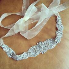 Handmade Wedding Bridal Sash Belt, Crystal Pearl Formal Wedding Dress Waist Belt