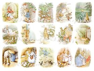 Peter Rabbit Stickers, 15 Stickers for Junk journals, Scrapbooking, Cards
