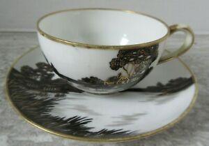 Old Vintage Hand Painted Nippon Black & Gold Cottage Scene Cup & Saucer