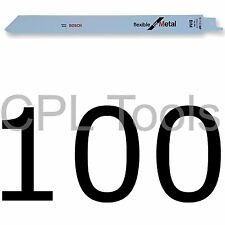 "100 Bosch S1122BF Reciprocating Sabre Saw Blades 225mm / 9"" Flexible for METAL"