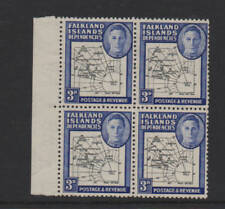 Falkland Islands Dependencies 1946 3d SGG4b Missing I in Is MNH block 4 stamps
