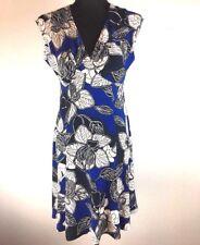 Jones New York Dress 6P Petite Blue White Floral Sleeveless Jersey V-neck Work