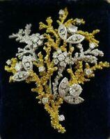 GEORGES LENFANT 18k Gold & Diamond Tree Brooch Clip Circa 1950s Retro