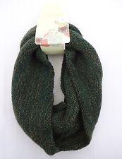 Infinity scarf dark green hues knit cowl single loop fall color