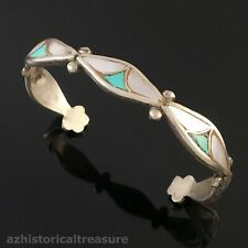 NATIVE AMERICAN ZUNI HANDMADE SILVER TURQUOISE MOTHER PEARL INLAY CUFF BRACELET