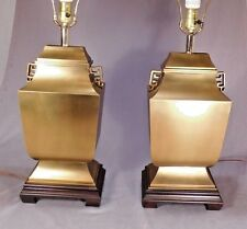 PAIR Mid Century Modern Asian Brass Table Lamps Mastercraft Hollywood Regency