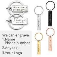 Stainless Steel Custom Keychain Engraved Letters Text Personalized Keyring Men