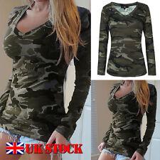 Fashion Womens Loose V Neck T Shirt Long Sleeve Cotton Tops Shirt Blouse Print