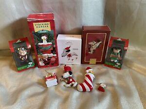 Lot 10 Peanuts Snoopy Holiday Christmas Decorations Hallmark Ornaments Lenox