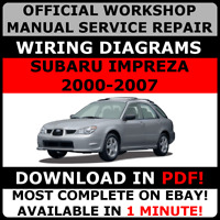 # OFFICIAL WORKSHOP Service Repair MANUAL for SUBARU IMPREZA 2000-2007 #
