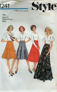 Style Sewing Pattern 1241, Skirt with Panels, Long Evening Length Size 12 VTG