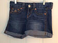Seven 7 Womens Denim Cut Off Shorts Size 8 Embroidered Pockets Denim Shorts