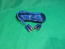 SAMURAI 2 CHANNEL GOLD RCA TO RCA SPIRAL BLUE SHIELDED AUDIO CABLE, 17 FT.