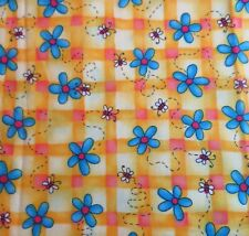 3/4 yd Busy Bees and Blue Daisies on Cheerful Yellow plaid 100% cotton CUTE