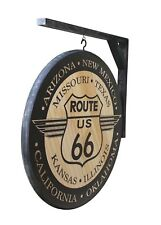 """ROUTE 66 SIGN - 2-SIDED 18"""" DIAMETER  - INCLUDES WALL BRACKET"""