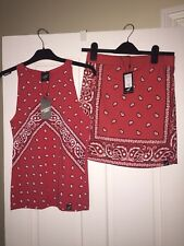 Illustrated People Bandanna Crop Top And Skirt L Bnwt