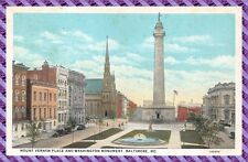 Carte Postale - MOUNT VERMON PLACE AND WASHINGTON MONUMENT, BALTIMORE, MD