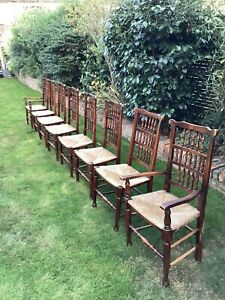 Antique Rush Seat Dining Chairs 6 Chairs And 2 Carvers