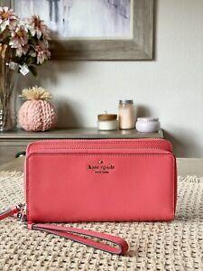 Kate Spade Payton Large Carryall Wristlet Clutch Wallet Stoplight Leather $239