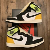 NEW Air Jordan 1 Retro High OG White Volt Gold Men's GS Sizes [555088-118]