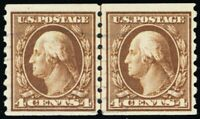 395, Used VF 4¢ Coil Line Pair Scarce & Genuine! PSE Certificate Stuart Katz