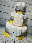 3 Tier Diaper Cake and sets - Little Peanut Elephant Theme - Yellow and Gray