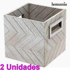 68d98ed589ad Set 2 Cajas de madera decorativas gris 13x13x13 cm