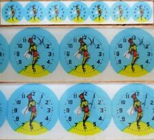 Watch Dials w/Moving Picture of Drum Majorette - 1940s Unused Strip of SEVEN