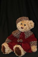 "Darling 27"" Plush Chic Bear JC Penney Holiday Collection Fancy Cheetah Coat Hat"