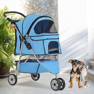 Dog Stroller Cat Stroller Pet Stroller for Medium Small Dogs Foldable Travel 3 W