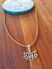 Lotus Flower Ohm Om Choker Necklace 🕉 Yoga Hippie Tie Up Adjustable Brown Suede